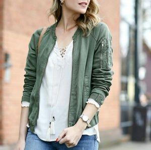 Sanctuary linen viscose army green bomber jacket